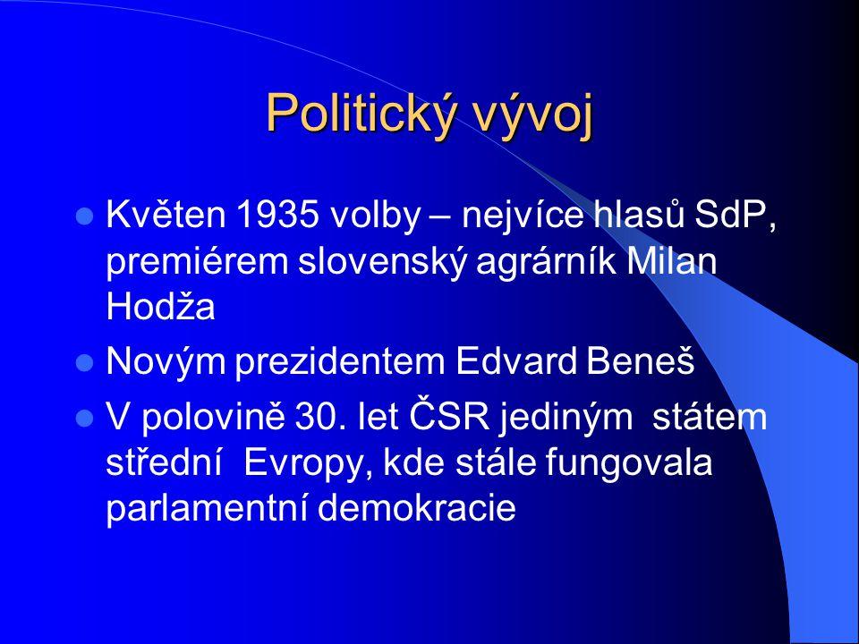 Politický vývoj Květen 1935 volby – nejvíce hlasů SdP, premiérem slovenský agrárník Milan Hodža. Novým prezidentem Edvard Beneš.