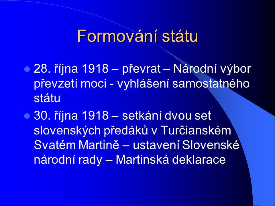 Formování státu 28. října 1918 – převrat – Národní výbor převzetí moci - vyhlášení samostatného státu.