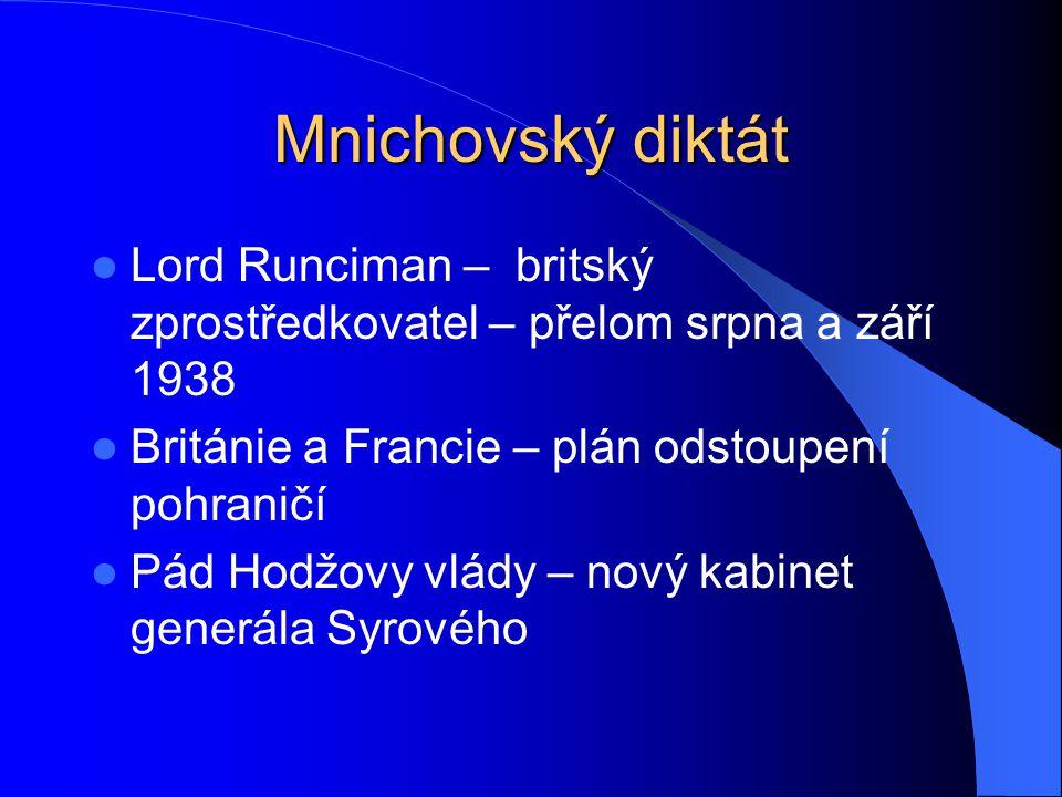 Mnichovský diktát Lord Runciman – britský zprostředkovatel – přelom srpna a září 1938. Británie a Francie – plán odstoupení pohraničí.