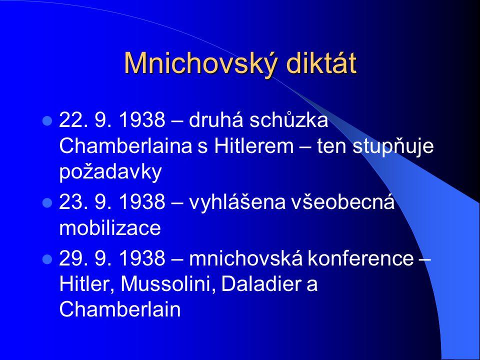 Mnichovský diktát 22. 9. 1938 – druhá schůzka Chamberlaina s Hitlerem – ten stupňuje požadavky. 23. 9. 1938 – vyhlášena všeobecná mobilizace.
