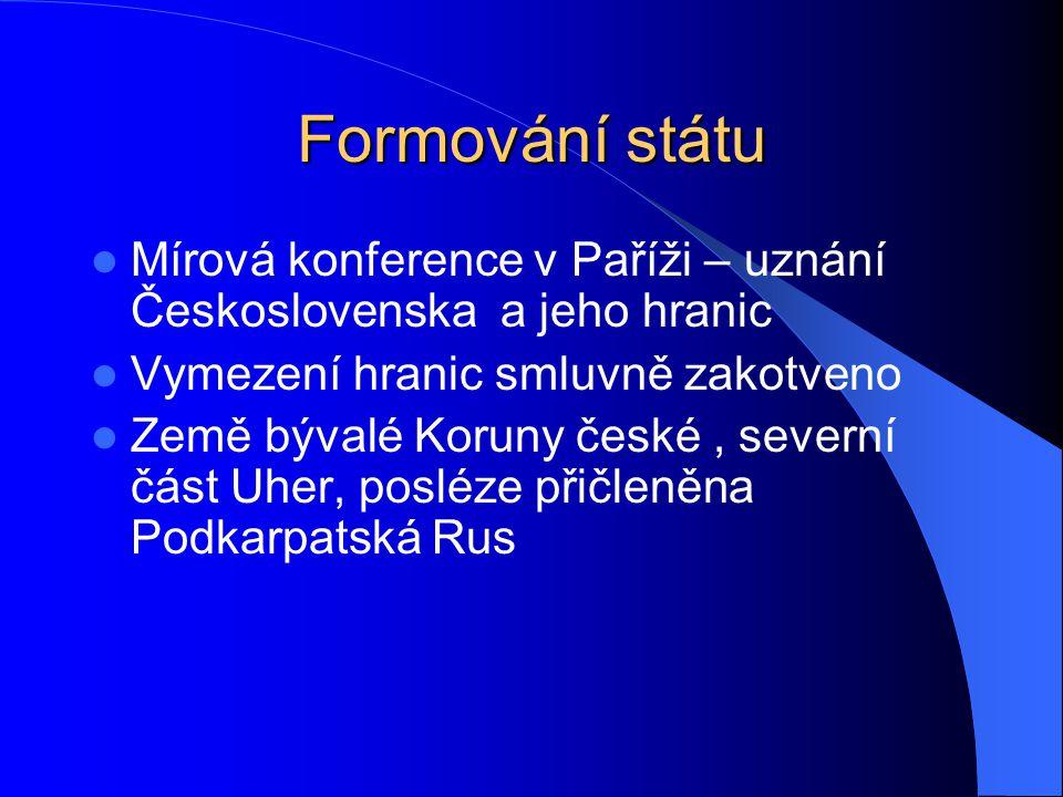 Formování státu Mírová konference v Paříži – uznání Československa a jeho hranic. Vymezení hranic smluvně zakotveno.