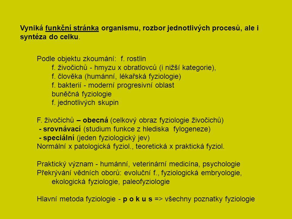 Vyniká funkční stránka organismu, rozbor jednotlivých procesů, ale i syntéza do celku.