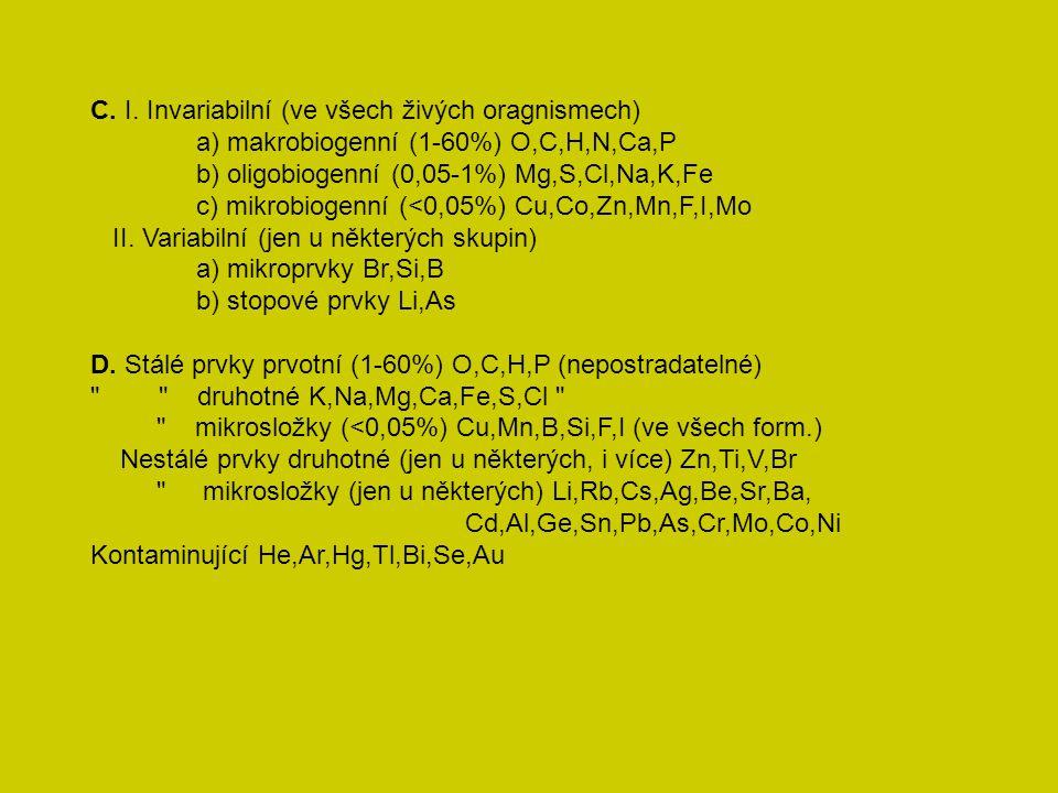 C. I. Invariabilní (ve všech živých oragnismech)