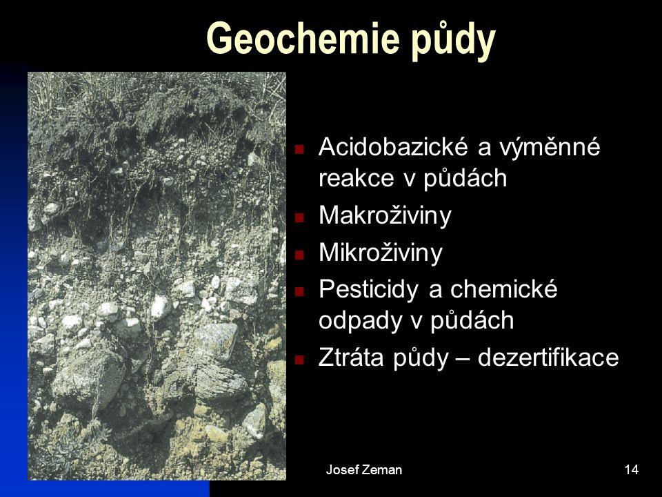Geochemie půdy Acidobazické a výměnné reakce v půdách Makroživiny