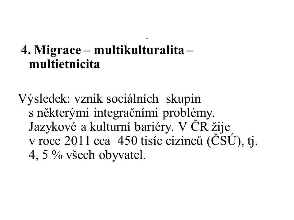 4. Migrace – multikulturalita – multietnicita