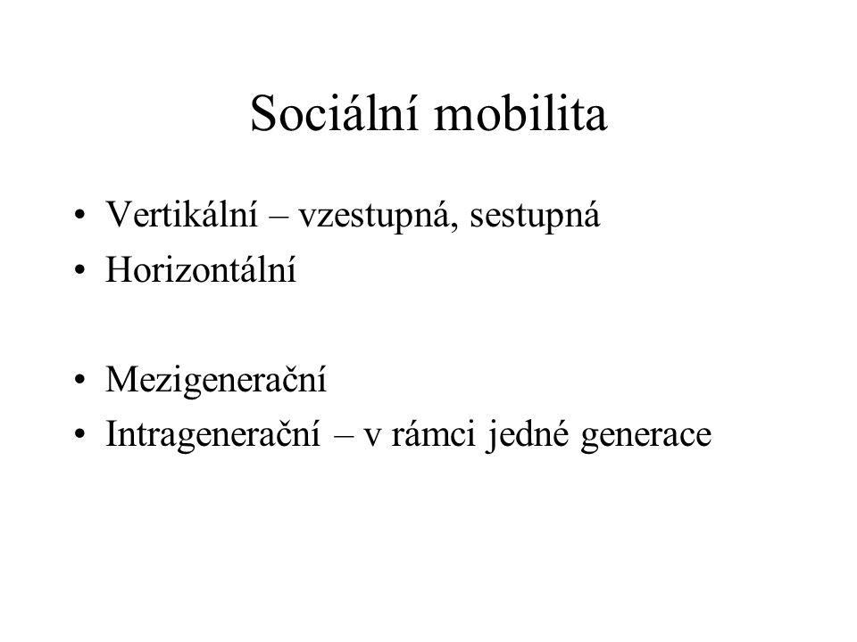Sociální mobilita Vertikální – vzestupná, sestupná Horizontální