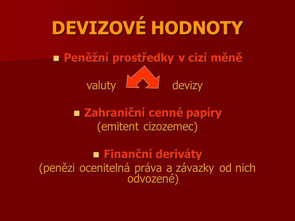 Peněžní prostředky v cizí měně Zahraniční cenné papíry