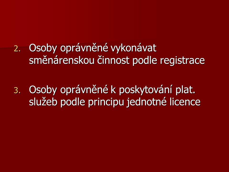 Osoby oprávněné vykonávat směnárenskou činnost podle registrace