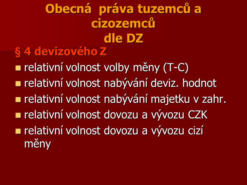 Obecná práva tuzemců a cizozemců dle DZ