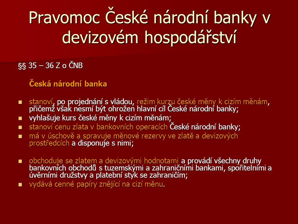 Pravomoc České národní banky v devizovém hospodářství