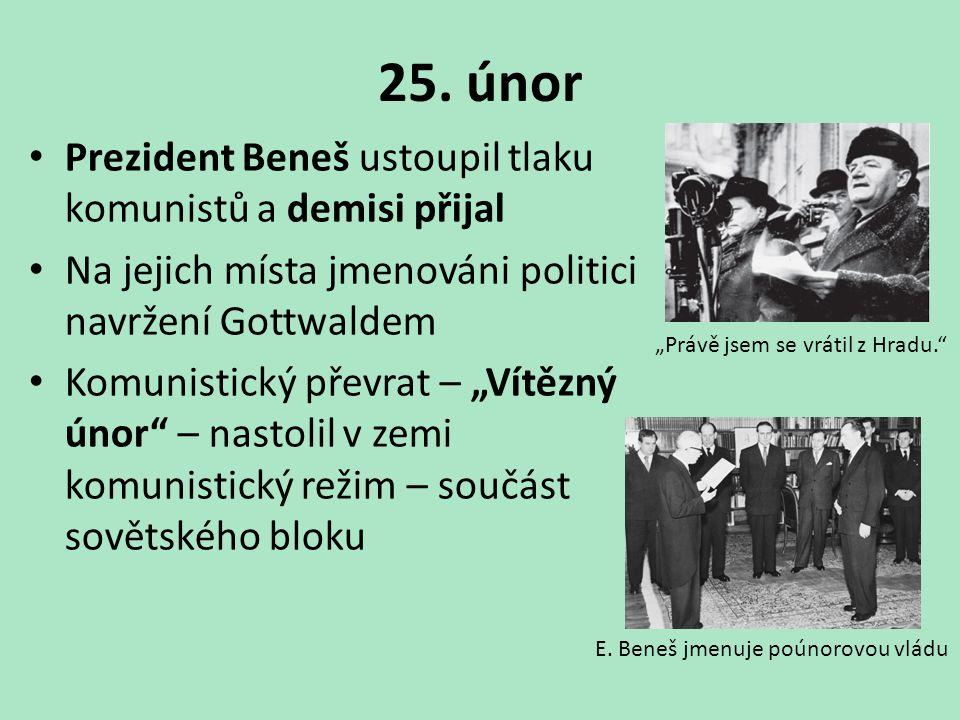 25. únor Prezident Beneš ustoupil tlaku komunistů a demisi přijal