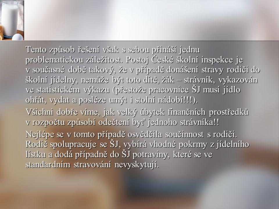 Tento způsob řešení však s sebou přináší jednu problematickou záležitost. Postoj České školní inspekce je v současné době takový, že v případě donášení stravy rodiči do školní jídelny, nemůže být toto dítě, žák – strávník, vykazován ve statistickém výkazu (přestože pracovnice ŠJ musí jídlo ohřát, vydat a posléze umýt i stolní nádobí!!!).