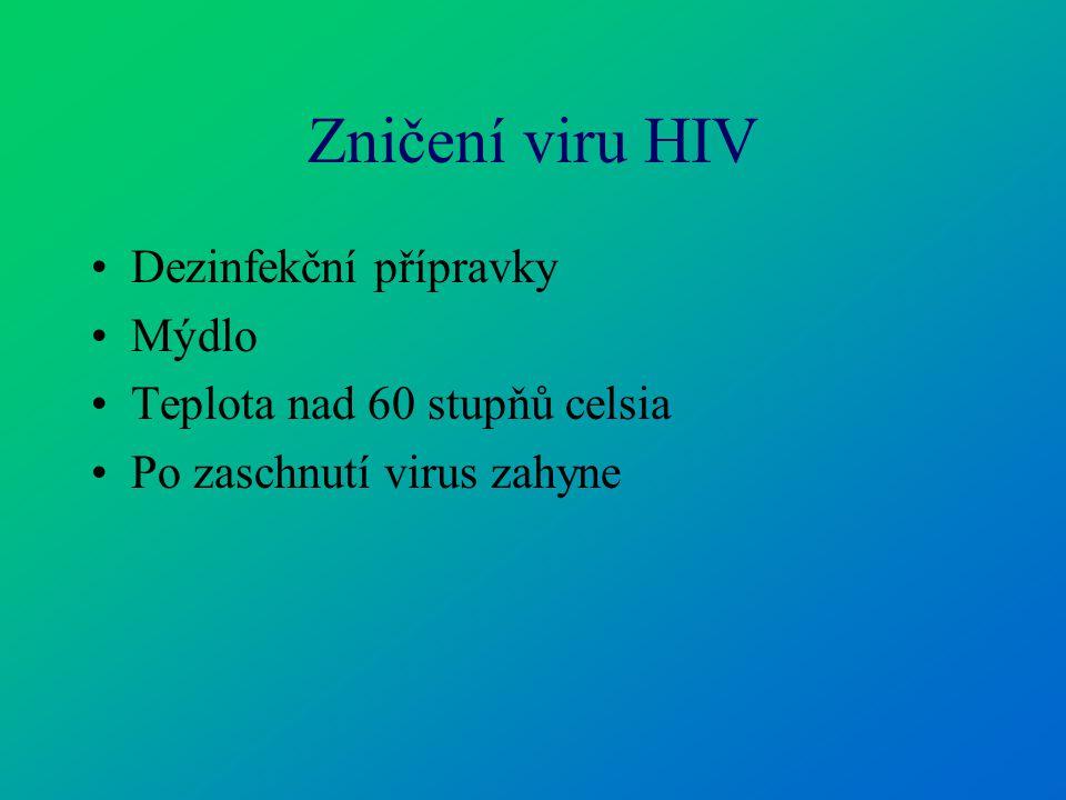 Zničení viru HIV Dezinfekční přípravky Mýdlo