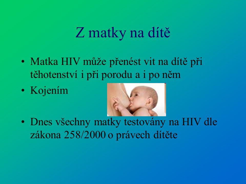 Z matky na dítě Matka HIV může přenést vit na dítě při těhotenství i při porodu a i po něm. Kojením.