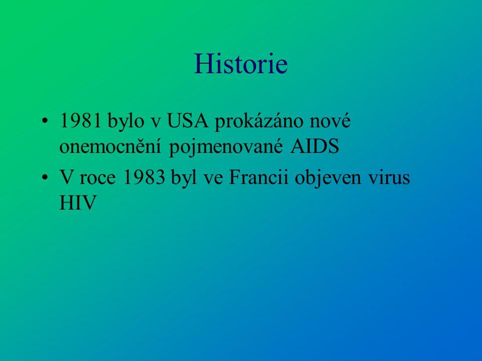 Historie 1981 bylo v USA prokázáno nové onemocnění pojmenované AIDS
