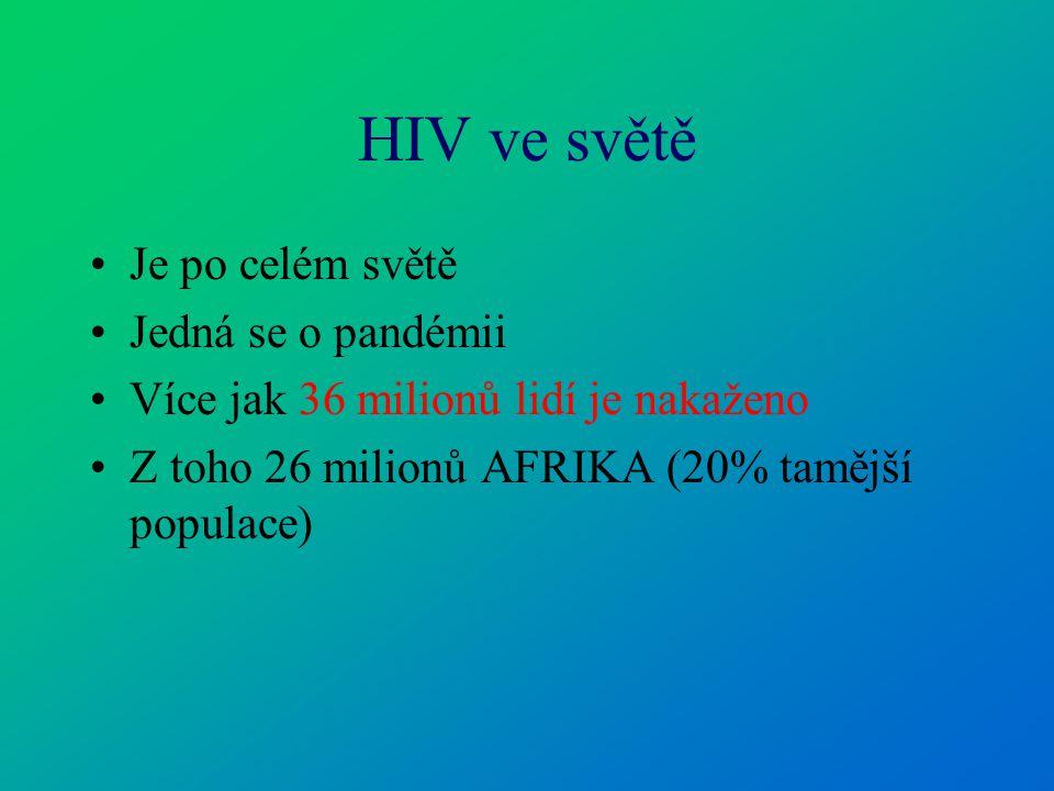HIV ve světě Je po celém světě Jedná se o pandémii