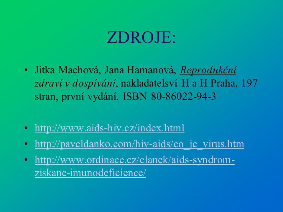 ZDROJE: Jitka Machová, Jana Hamanová, Reprodukční zdraví v dospívání, nakladatelsví H a H Praha, 197 stran, první vydání, ISBN 80-86022-94-3.