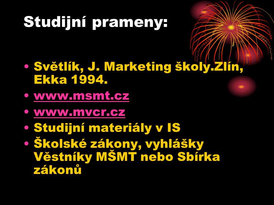Studijní prameny: Světlík, J. Marketing školy.Zlín, Ekka 1994.