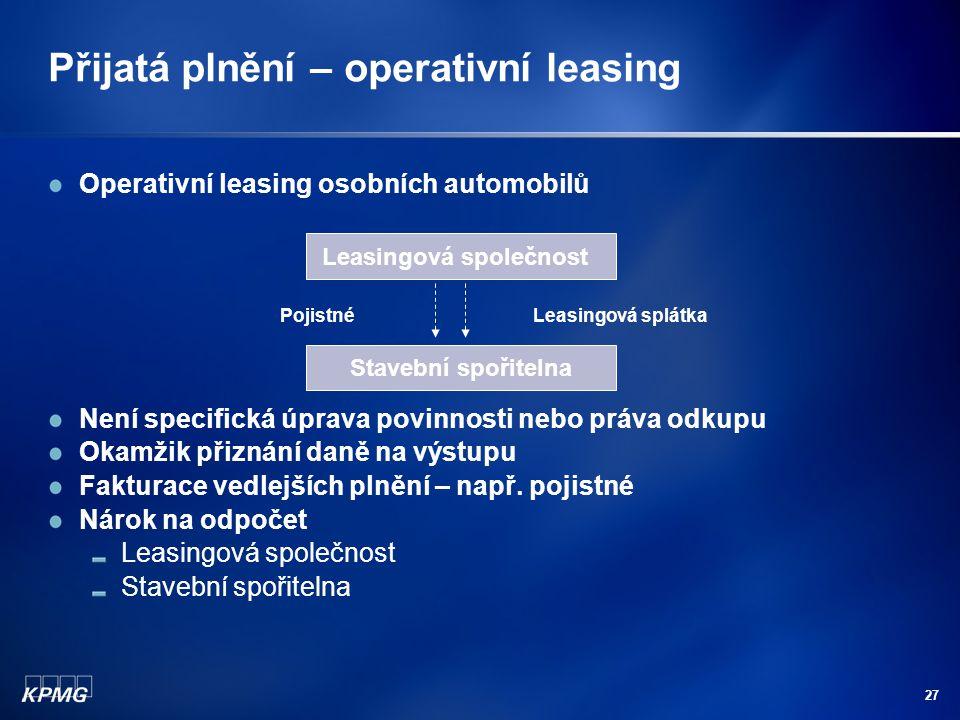 Přijatá plnění – operativní leasing