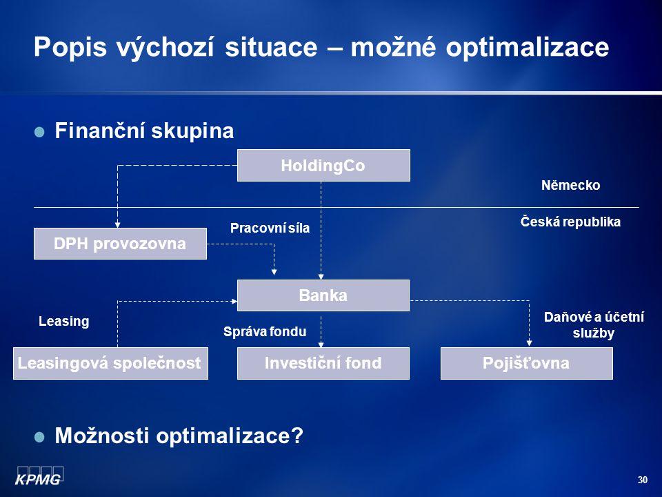Popis výchozí situace – možné optimalizace