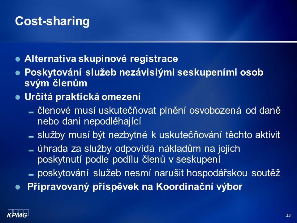 Cost-sharing Alternativa skupinové registrace