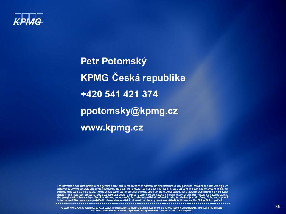 Petr Potomský KPMG Česká republika +420 541 421 374 ppotomsky@kpmg.cz