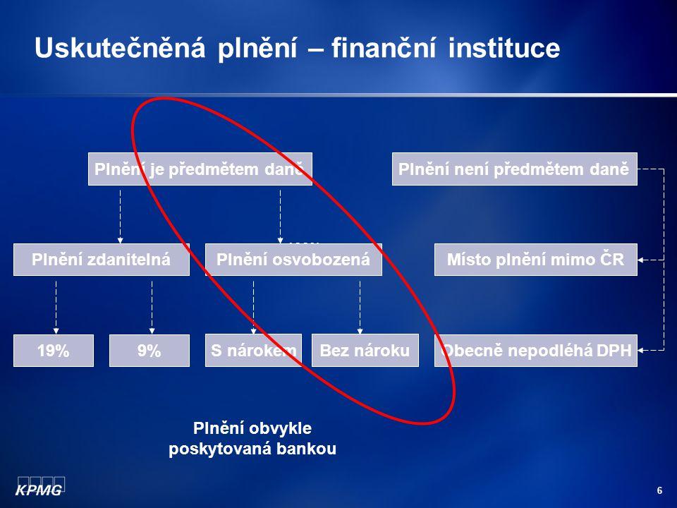 Uskutečněná plnění – finanční instituce