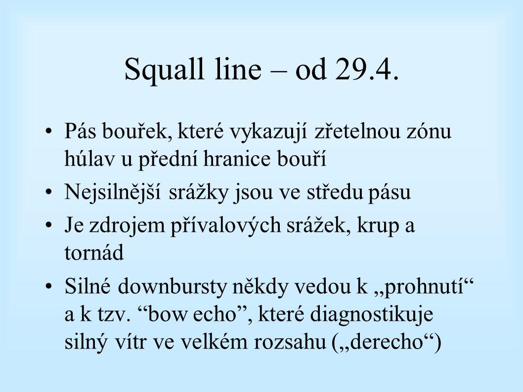 Squall line – od 29.4. Pás bouřek, které vykazují zřetelnou zónu húlav u přední hranice bouří. Nejsilnější srážky jsou ve středu pásu.