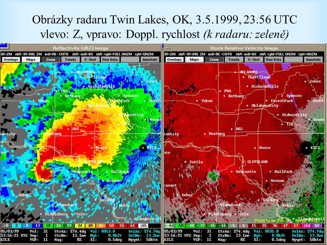 Obrázky radaru Twin Lakes, OK, 3. 5. 1999, 23