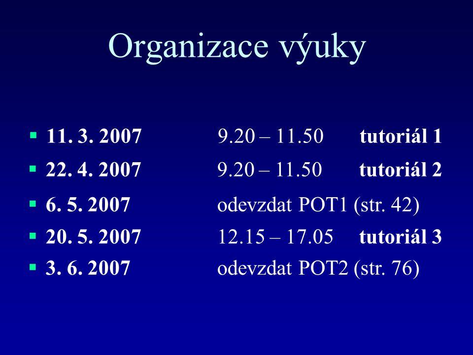 Organizace výuky 11. 3. 2007 9.20 – 11.50 tutoriál 1