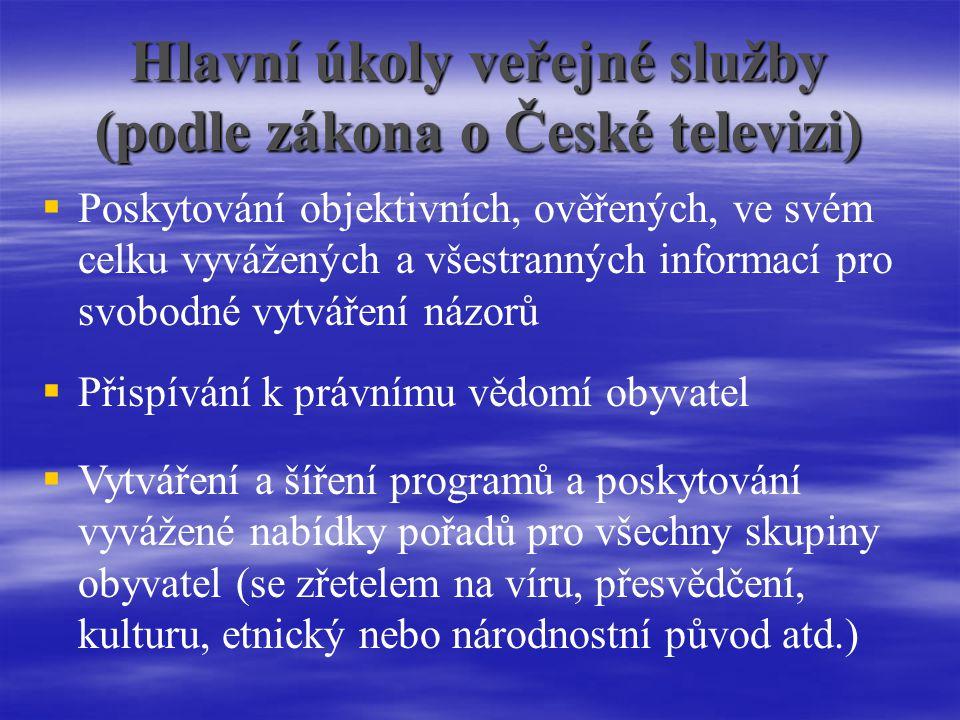 Hlavní úkoly veřejné služby (podle zákona o České televizi)