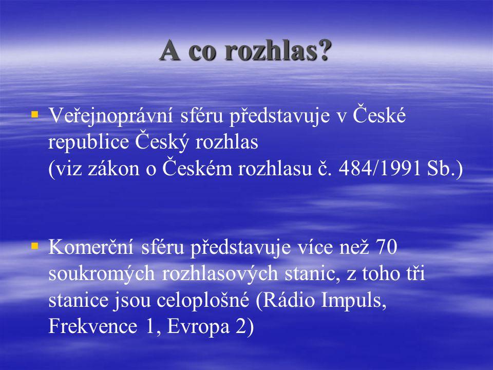 A co rozhlas Veřejnoprávní sféru představuje v České republice Český rozhlas (viz zákon o Českém rozhlasu č. 484/1991 Sb.)