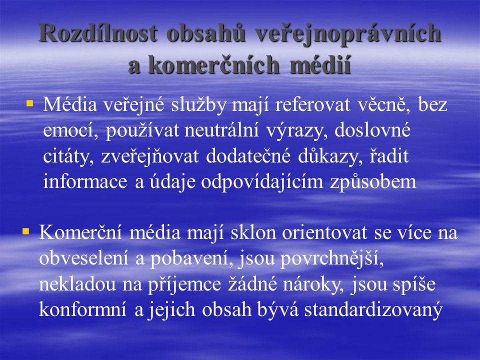 Rozdílnost obsahů veřejnoprávních a komerčních médií
