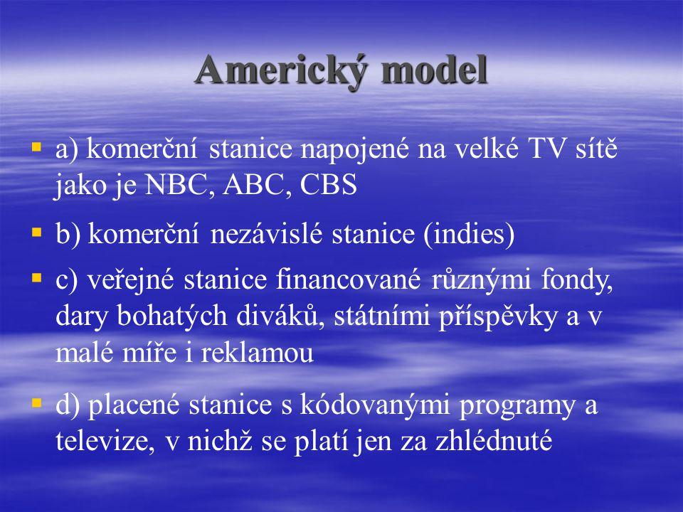 Americký model a) komerční stanice napojené na velké TV sítě jako je NBC, ABC, CBS. b) komerční nezávislé stanice (indies)