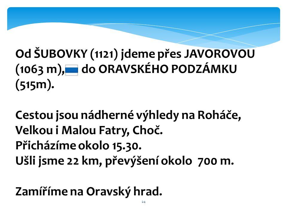Od ŠUBOVKY (1121) jdeme přes JAVOROVOU (1063 m), do ORAVSKÉHO PODZÁMKU (515m).