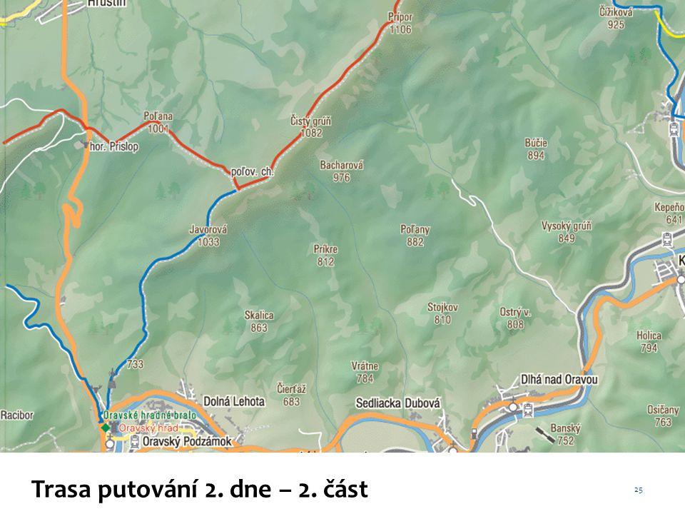 Trasa putování 2. dne – 2. část