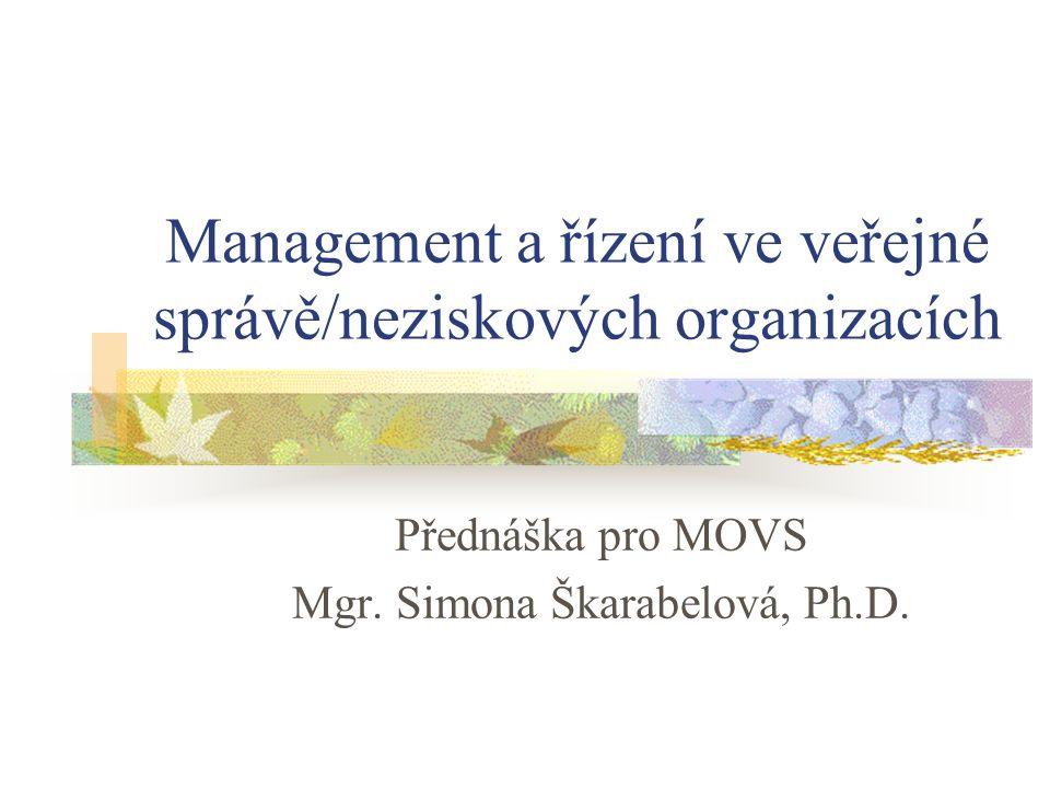 Management a řízení ve veřejné správě/neziskových organizacích
