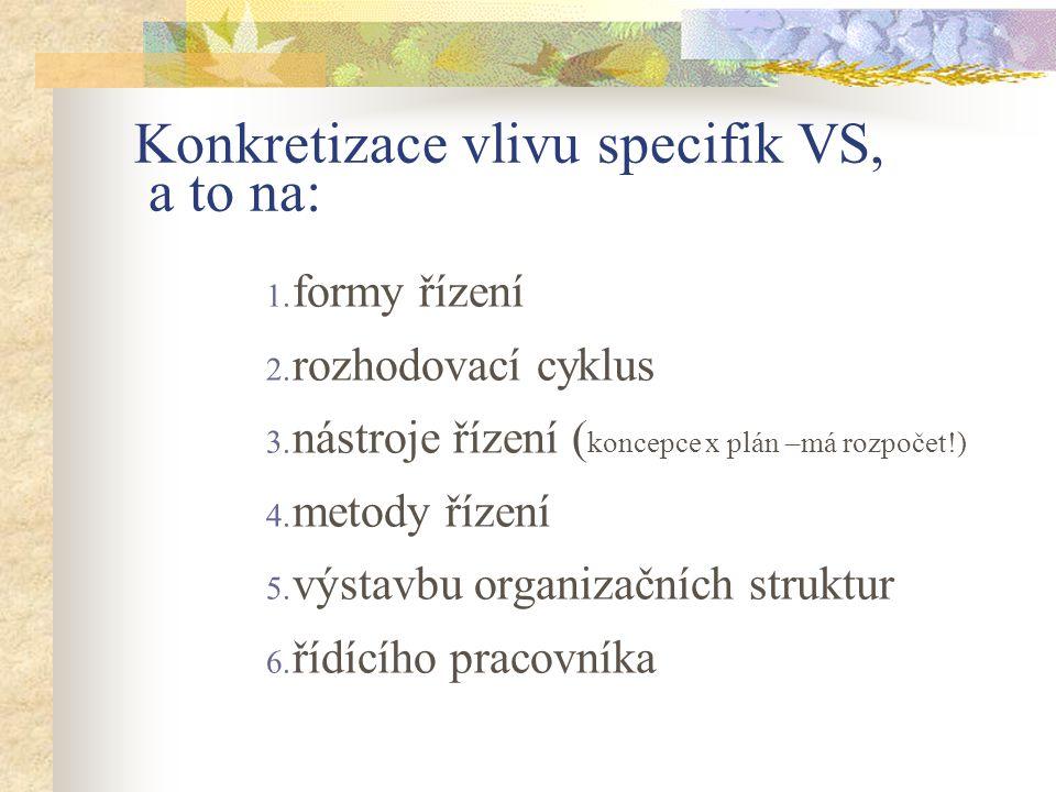 Konkretizace vlivu specifik VS, a to na: