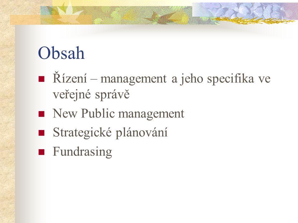 Obsah Řízení – management a jeho specifika ve veřejné správě