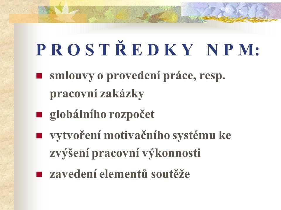 P R O S T Ř E D K Y N P M: smlouvy o provedení práce, resp. pracovní zakázky. globálního rozpočet.