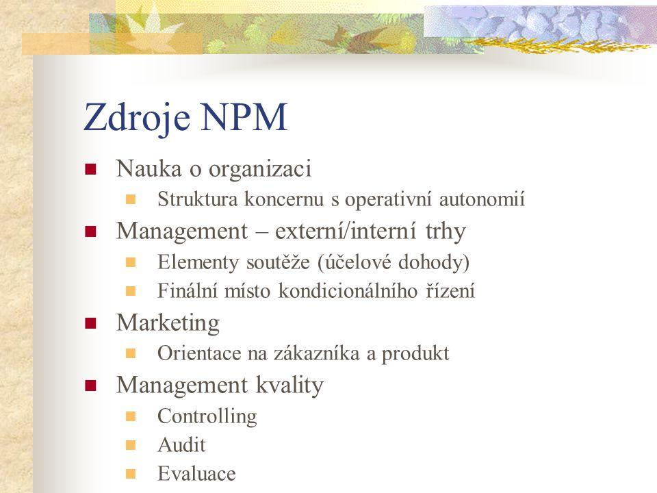 Zdroje NPM Nauka o organizaci Management – externí/interní trhy