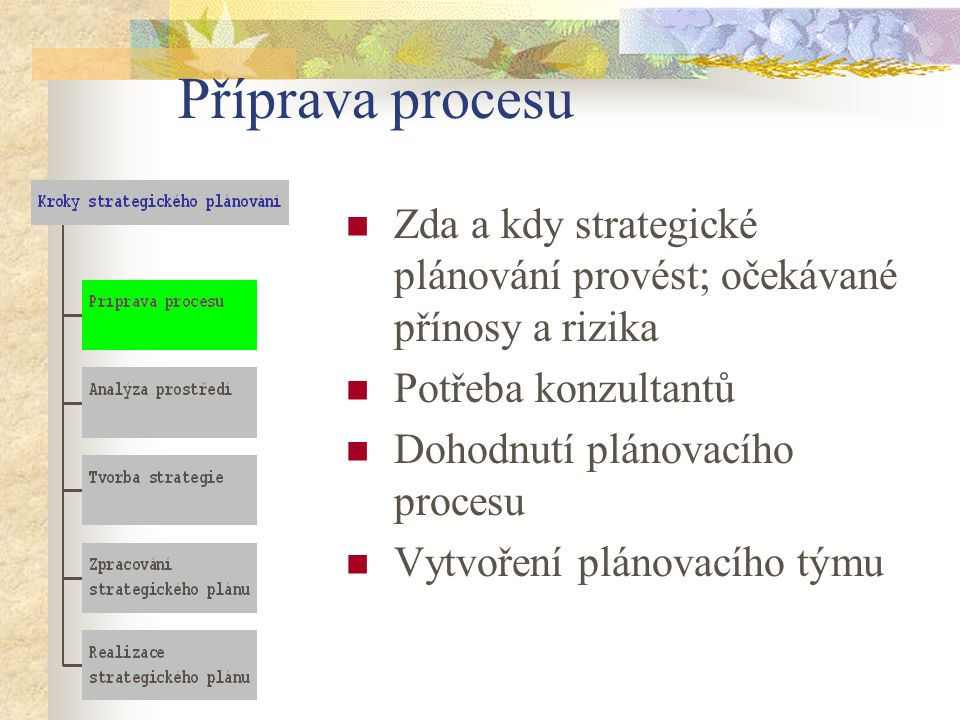 Příprava procesu Zda a kdy strategické plánování provést; očekávané přínosy a rizika. Potřeba konzultantů.
