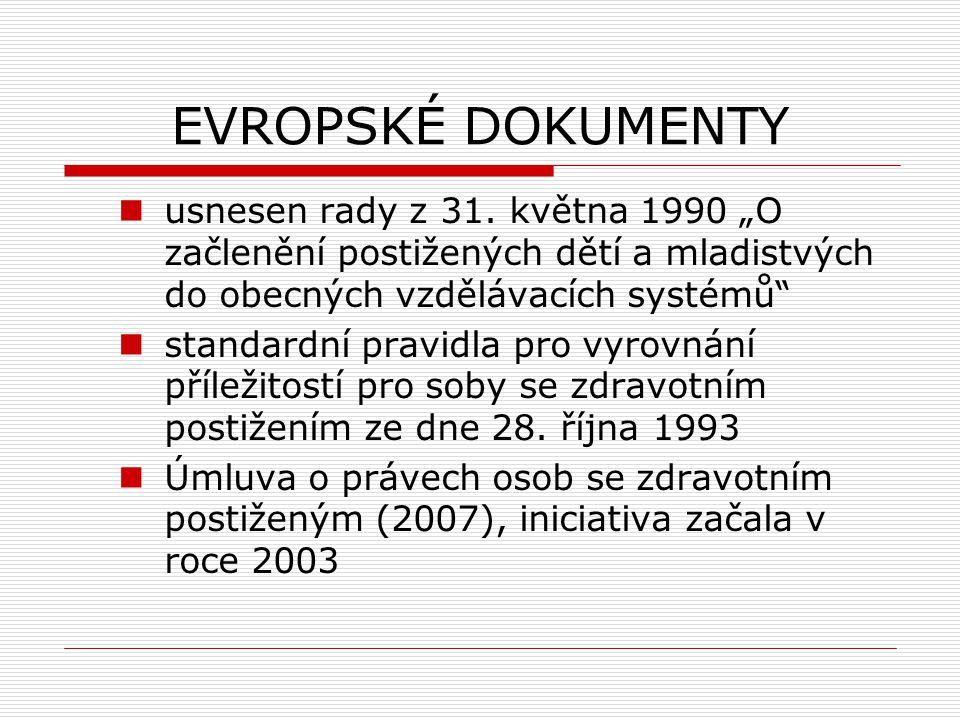 """EVROPSKÉ DOKUMENTY usnesen rady z 31. května 1990 """"O začlenění postižených dětí a mladistvých do obecných vzdělávacích systémů"""