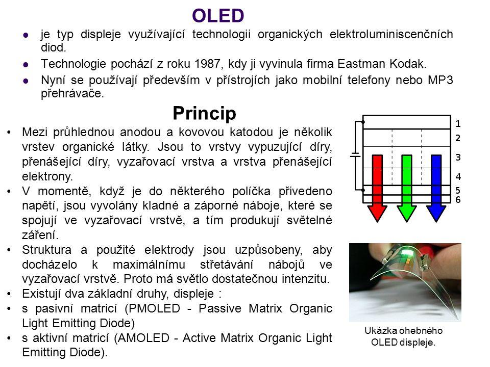 Ukázka ohebného OLED displeje.