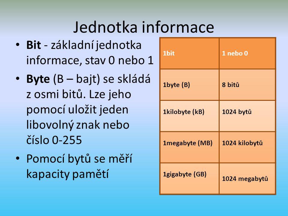 Jednotka informace Bit - základní jednotka informace, stav 0 nebo 1