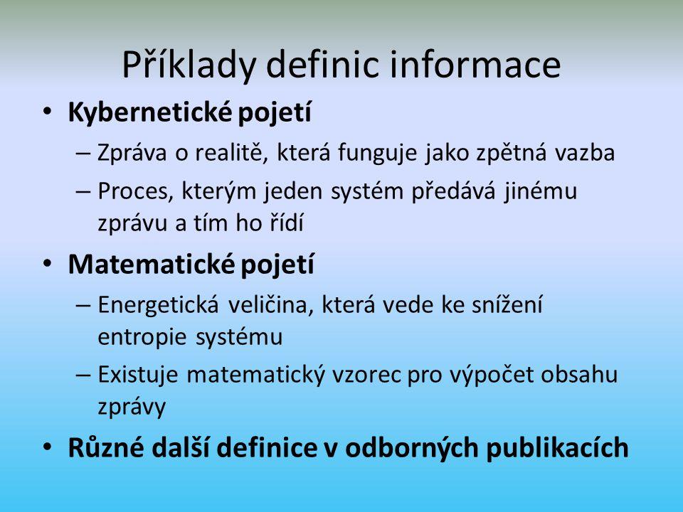 Příklady definic informace