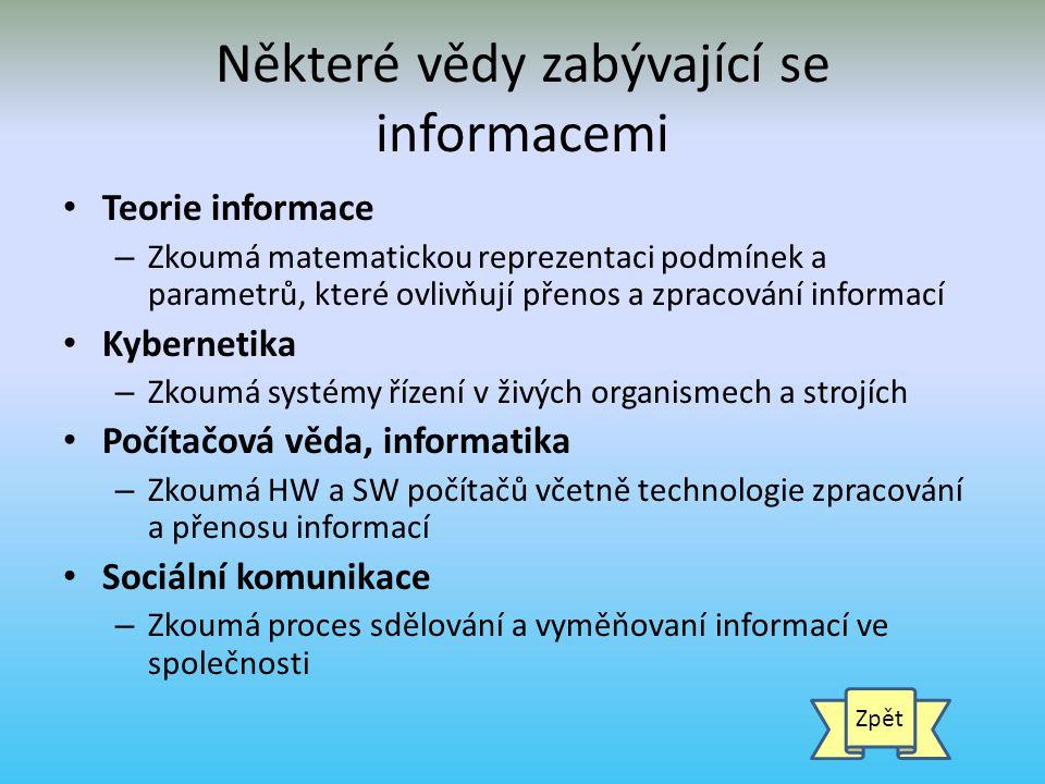 Některé vědy zabývající se informacemi
