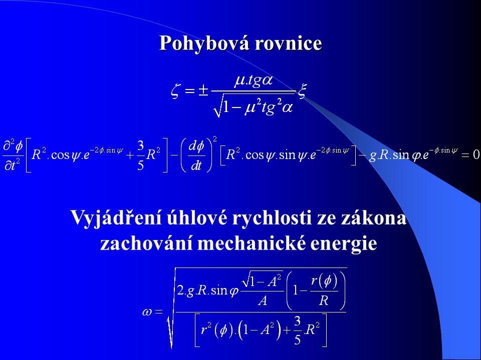 Vyjádření úhlové rychlosti ze zákona zachování mechanické energie