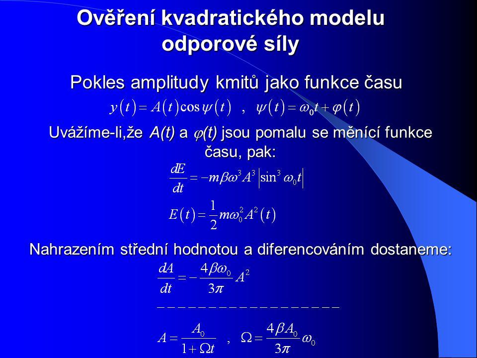 Ověření kvadratického modelu odporové síly