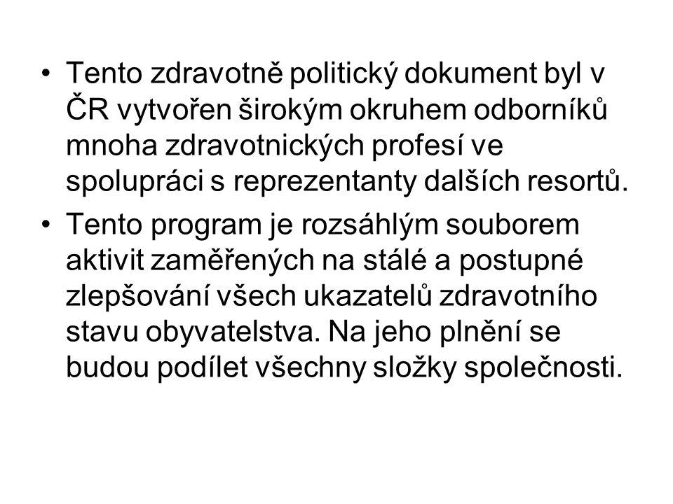 Tento zdravotně politický dokument byl v ČR vytvořen širokým okruhem odborníků mnoha zdravotnických profesí ve spolupráci s reprezentanty dalších resortů.